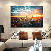 Noche de la ciudad de Nueva York Cartel de tela de seda Pintura moderna Papel de pared Arte Oil Imagen Sala de estar Decoración para el hogar