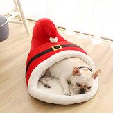 60x43x35 سنتيمتر عيد الميلاد الكرتون السرير الأحمر النعال نمط سميكة الشتاء الدافئ السرير للقطط كلب أليف