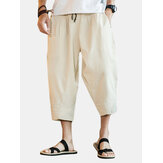 Baggy Linen Calf-Length Wide Leg Pants