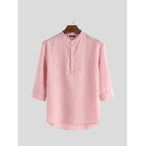 Mens Shirt 3/4 Sleeve Stand Collar Button Blouse Pullover Casual Soft Dress Tops