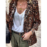 Turn Down Collar Casual Loose Leopard Print Blazer Coats