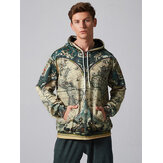 Mens Fashion World Map Adventure Printing Sweatshirt