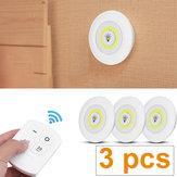 3Pcs Night Lights Under Cabinet Lighting Kit COB LED Light Closet Bulb Kitchen Shelf Counter with Remote Control