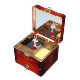 Рукоятка Вращающиеся Танцоры Балерина Музыка Коробка Металлические Антикварные Украшения Коробка Новогодний Подарок для Девочки