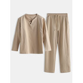 Men Linen Plain Pajamas Set Chinese Style Plus Size Comforta