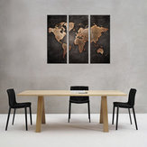 3Pcs Modern Abstract Wall Mount Art Pinturas Mapa do mundo Canvas Imagem Home Decor
