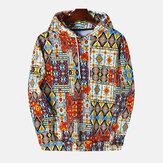 Mixed Color Ethnic Pattern Print Long Sleeve Vintage Hoodies