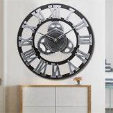 Sprzęt 3D Duży zegar ścienny Vintage Retro Cyfry rzymskie Ciche przemiatanie Nie tyka