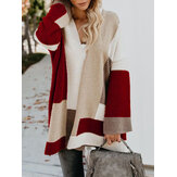 Women Casual Loose Color Block Sweaters