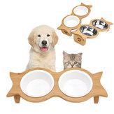 Grande ciotola doppia per animali domestici Mangiatoia per gatti Cibo per cani Supporto per cuccioli Acciaio inossidabile / ceramica