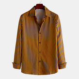 Mens Fashion Concise Stripe Single Breasted Long Sleeve Lapel Shirts