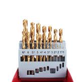 Drillpro 19Pcs M2 HSS 6542 Conjunto de brocas de torção 1-10mm Broca revestida de titânio com metal Caixa para perfuração de metais em madeira