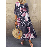Polka Dot Crew Neck 3/4 Sleeve Long Maxi Dress