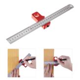 Verstelbare 30 cm roestvrij staal 45/90 graden lijn Scriber hoek liniaal Inch en metrische magnetische positionering meetliniaal houtbewerkingstool