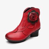 Women Retro Handmade Flower Leather Ankle Boots