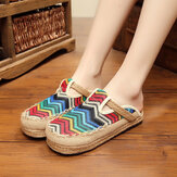 Rainbow Espadrilles Flax Backless Loafers