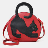 Women Cat Pattern Expandable Handbag Crossbody Bag Cat Bag
