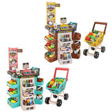 Children Play House Kitchen Simulation Toys Scanner Credit Card Machine Trolley Shopping Trolley Cash Register Set