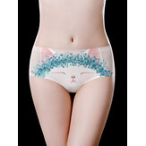 Cartoon Cat Printed Seamless Ice Silk Oddychające figi