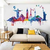 Loskii FX82039 World Architectural Wall Sticker Extraíble Wall Art Stickers Vinyl Decals Decoración para el hogar Sala de estar