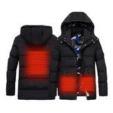Muži Ženy elektrický inteligentní ohřev USB s kapucí vyhřívaná teplá pracovní bunda Motocyklové lyžování Jezdecké kabáty