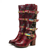 SOCOFY Vintage Embossed Leather Printing Mid Calf Boots