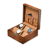 6 Slots Solid Wood Wooden Display Watch Box Case Chest Storage Box Desktop Organizer with Lock