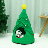 Árvore de Natal Elk Pet House Respirável Semi Fechado Soft Cat House Green Cat Cachorro Cama