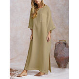 Mulheres Loose Batwing Long Camisa Vestido Split Hem Jumpers Dress Kaftan