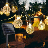 12M 8 modos 100LED Solar Luz de cuerda Crystal Ball Fairy Lámpara Boda Holiday Holiday Boda Party