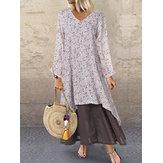 V-neck Button Print Splice Long Sleeve Casual Maxi Dress