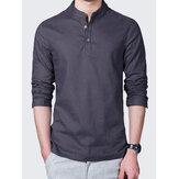 Camisetas informales de color liso de lino para hombre