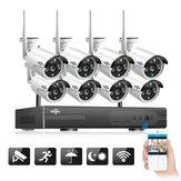 Hiseeu WNKIT-8HB612 1080P Беспроводная система видеонаблюдения 2M 8CH Wifi NVR На открытом воздухе IR Система ночного видения IP камера Система наблюдения Бе