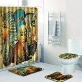 4 szt. Zestaw łazienkowy Starożytny egipski wodoodporny pokrowiec na toaletę Zestaw dywaników Flanelowa łazienka Zasłona prysznicowa