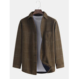 Mens Plaid Casual Cotton Thick Turn Down Collar Jacket