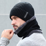 Fleece Lined Warm Beanie Hat Knitted Hat Scarf