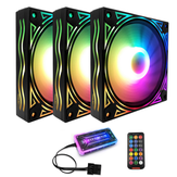 Coolmoon BILLOW 3PCS 120mm Multilayer Backlit RGB Cooling Fan Mute PC CPU Heatsink with the RF Wireless Remote Control