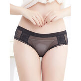 Lace-trim Seamless Low Waist See Through Mesh Briefs