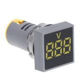 3pcs amarelo 22 MM AC 60-500V voltímetro painel quadrado LED luz indicadora do medidor de tensão digital
