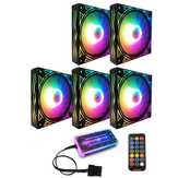 Coolmoon BILLOW 5 STKS Colorful Achtergrondverlichting 120mm CPU Koelventilator Mute PC Heatsink met de afstandsbediening