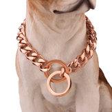 Naszyjnik ze stali nierdzewnej w kolorze różowego złota Łańcuch dla psa Obroża dla psa Curb Obroża dla psa