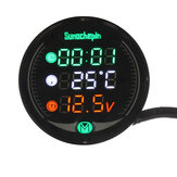 9V-24V 5-in-1 LED Night Vision USB Charger Voltage Meter Timer Temperature Display Table For Motorcycle ATV UTV Automobile