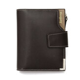 PU Genuine Leather Bifold Wallet Credit Card Holder ID Card Case Coins Money Bag with Zipper for Mens