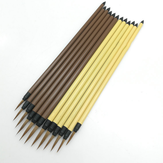 10 PCS Oil Painting Brush Wood Handel Weasel Hair Different Size Hook Line Pen For Acrylic Painting