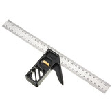 Drillpro Adjustable 300mm Aluminum Alloy Square 45 Degree Angle Scriber Steel Ruler Woodworking Line Locator Ruler DIY Carpenter Measuring Tool