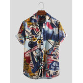 Mens Holiday Colorful Pattern Printed Summer Hawaiian Shirts