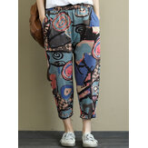 Women Elastic Waist Printed Harem Pants Casual Loose Trousers