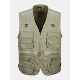 Mens Multi-Pocket Cotton Outdoor Solid Color Spring Vests