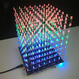 DIY 3D ضوء Cube Kit 8x8x8 LED مدمج MP3 موسيقى Spectrum 3W Speaker Amplifier