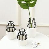 Home Party Black Metal Rack Pot de fleur en céramique Plante de jardin Succulent Stand Holder Decor